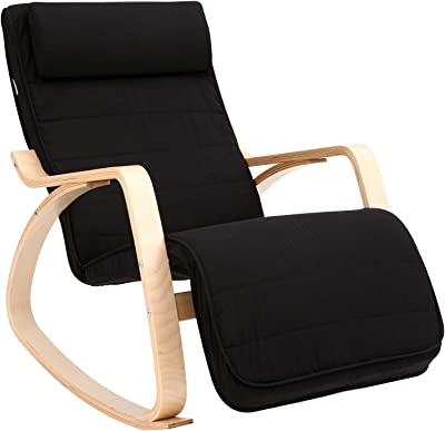 SONGMICS Silla Mecedora, Sillón Tumbona, Reposapiés Ajustable, Ideal para Sala de Estar,