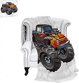 b957d846edb0 RenteriaDecor Boys Room Travel Throw Blanket Monster Truck in Flame Custom  Design Cozy Flannel Blanket 50