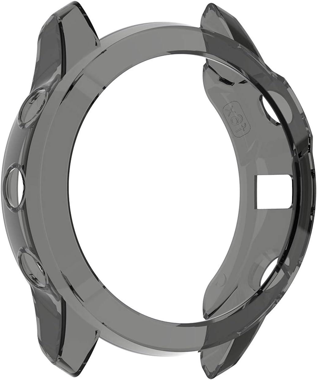 Silicone TPU Case Cover Compatible for Garmin Fenix 6S Garmin Fenix 6S Sapphire//Garmin Fenix 6S Pro 2 Pack-Black case, Fenix 6S Series Compatible for Garmin Fenix 6S Pro Case