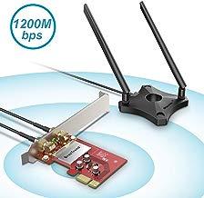 BrosTrend - Tarjeta WiFi PCI Express 1200Mbps, Adaptador Red WiFi Doble banda (Dual, 867Mbps/5GHz, 300Mbps/2.4GHz, 2 Antenas desmontables 5dBi + base magnética), Windows 10/8.1/7, PC Sobremesa, Juegos