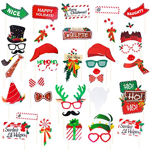 38 Pcs Christmas Photo Booth Props, Photo booth Props Kit Holiday Event Party Favors Christmas Photo Props for Adult Kids, Funny Selfie and Photo Prop Kits with Sticks (Green)