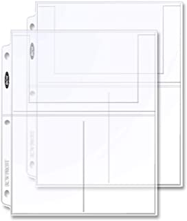 BCW Pro 3-Pocket Page 20 (Twenty Pages) (4 X 6 Cards, Postcards or Photos), Clear