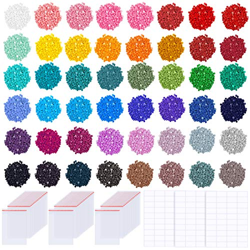 PP OPOUNT 57600 PCS 48 Colors Diamond Painting Replacement Round Diamonds with 60 Pieces Self-Seal Bags, 3 Sheets 120 Tags Label Paper for Missing Drills of Diamond Cross Stitch DIY Crafts