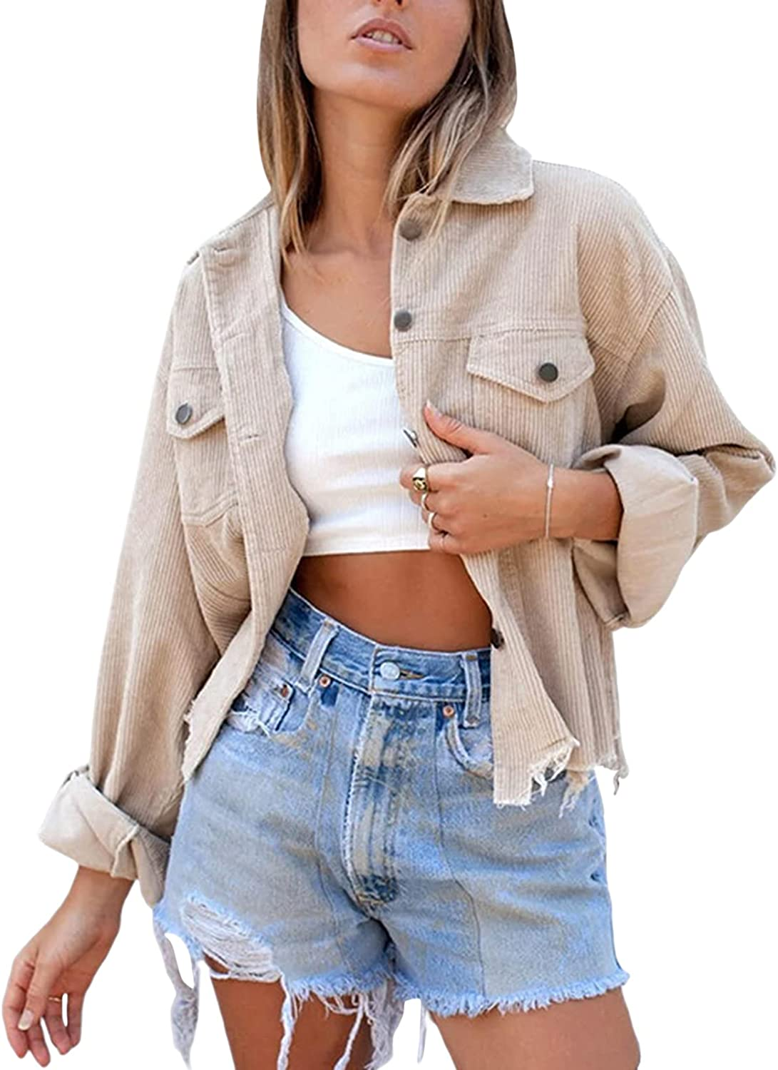 Women Corduroy Cropped Jacket Frayed Hem Button Down Long Sleeve Casual Loose Solid Color Vintage Crop Jackets