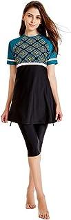 Women's Full Length Long Muslim Islamic Burkini Modest Swimwear Purple-Black