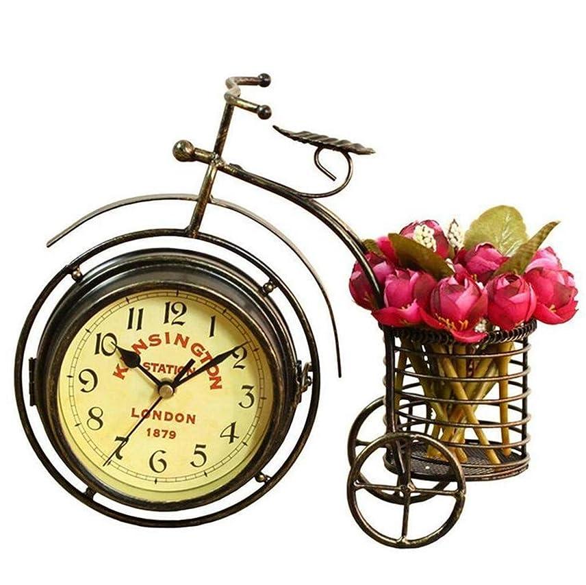 キャベツベーカリーシルクレトロな時計 三輪自転車 ビンテージの目覚まし時計 鉄 デスククロック サイレント チックなし 工芸品の飾り デコレーション 電池
