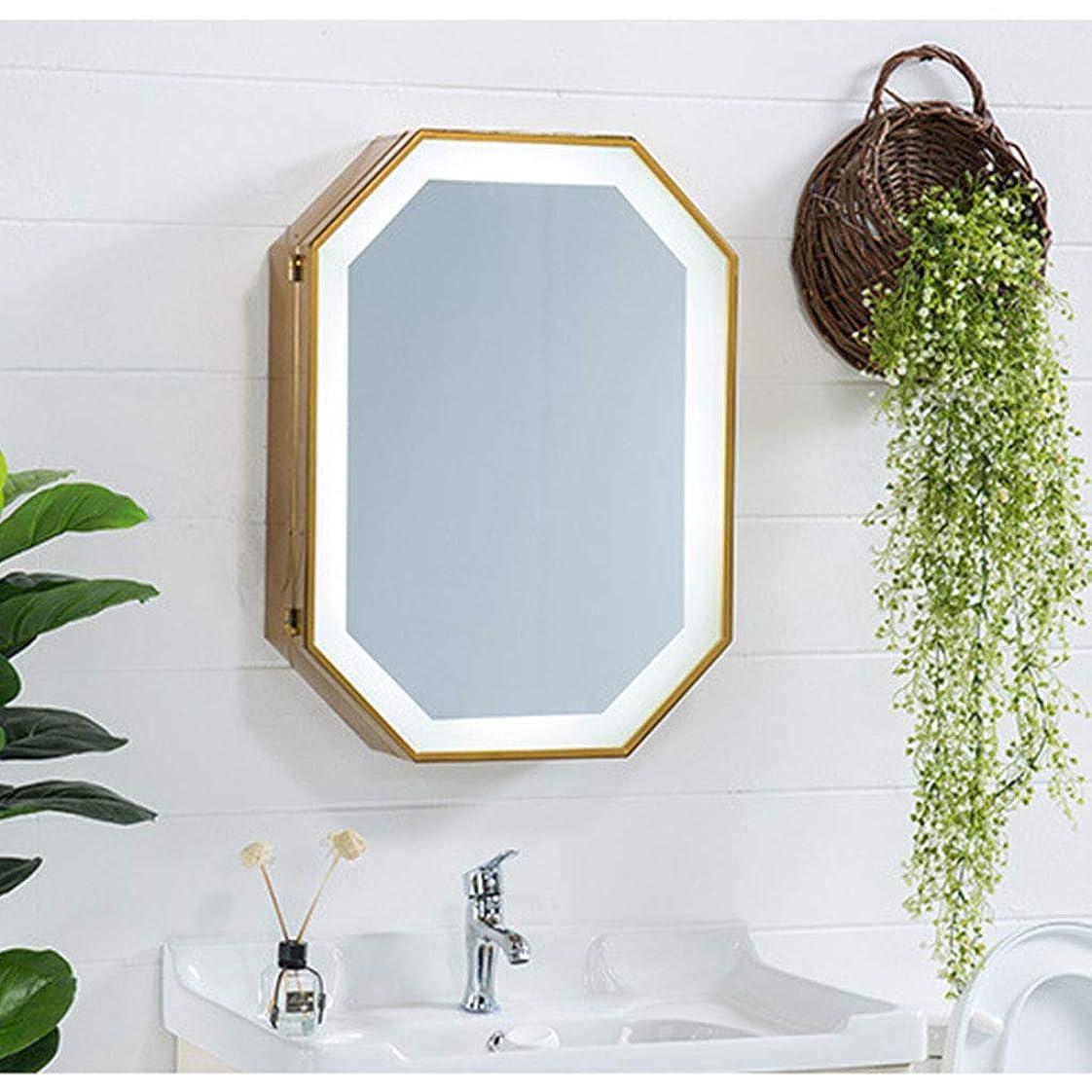 町政治家のおじさん現代浴室用キャビネットミラー、壁収納キャビネット八角形ミラー、浴室用ミラーキャビネット収納キャビネットウッドカラー