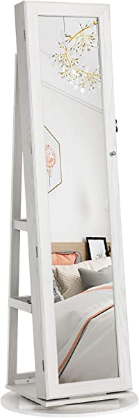 SONGMICS 360 Swivel Jewelry Cabinet High Full Length Mirror Lockable Jewelry Armoire With Built In Small Mirror Rear Storage Shelves White UJJC62WT