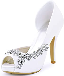 Best satin peep toe wedding shoes Reviews