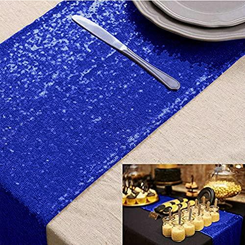 Camino de mesa con lentejuelas, color azul real, 170 cm, para fiesta de cumpleaños, banquetes, camino de mesa brillante, para bodas,, Acción de Gracias, Halloween, eventos (30 x 180 cm), color azul