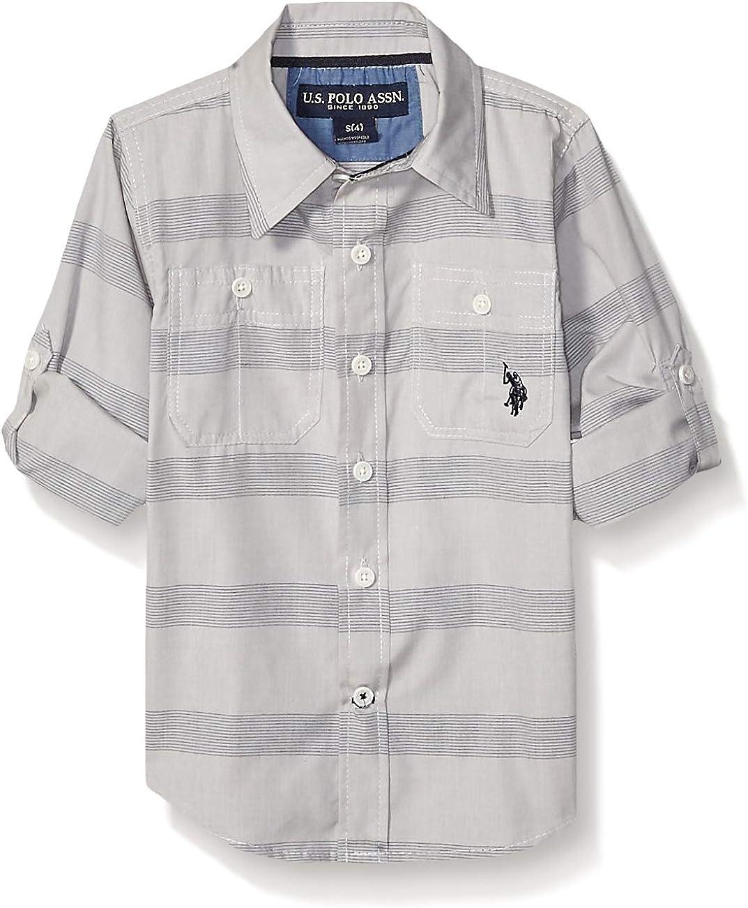U.S. Polo Assn. Boys' Long Sleeve Striped Poplin Woven Shirt