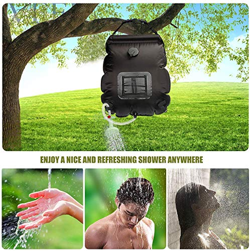 61ng+fWsF2L - ASANMU Camping Shower Bag, 20L Solar Shower Bag Outdoor Solar Heating Portable Outdoor Shower Bag with Removable Hose and Switchable Shower Head, for Traveling Beach Swimming Garden Hiking - Black