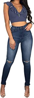Women's Juniors Stretchy Jeans Ripped Hole Distressed...