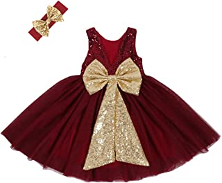 Cilucu Flower Girl Dress Baby Toddlers Sequin Dress Tutu Kids Party Dress Bridesmaid Wedding Gown