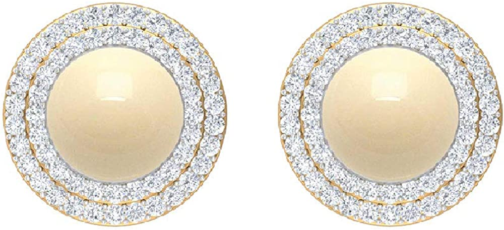 7.80 CT Japanese Cultured Pearl Stud G Double Diamond with Luxury Halo Cheap bargain