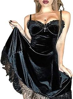 Abito da donna gotico Lolita con volant e cinturino in velluto per spaghetti da ragazza con fiocco in pizzo liscio chic Ne...
