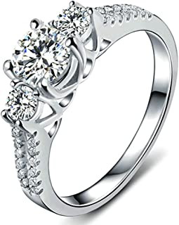 White Sapphire Lady's 10K White Gold Filled Jewellry Wedding Ring Three Stone Engagement Ring Style