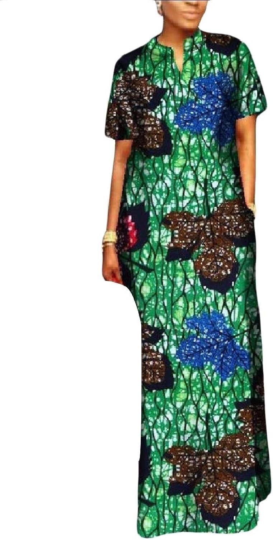 Coolhere Women Plus Size Curvy Slim Casual Printed Dashiki Long Maxi Dress
