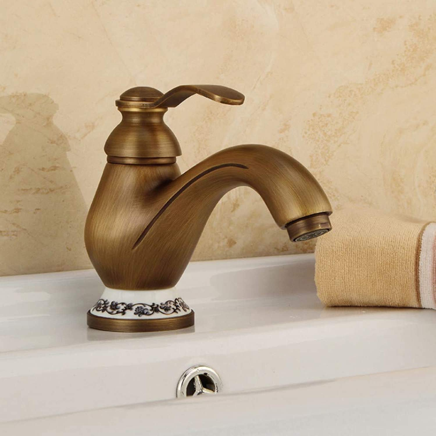 Ayhuir Basin Faucets Antique Brass Deck Mounted Bathroom Sink Faucet Single Handle Hole Ceramic Deco Toilet Mixer Tap Wc Taps