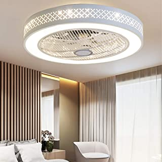 Ventilateur De Plafond Avec Éclairage LED Avec Ventilateur Rond Plafonniers Créatifs Dimmable Can Timing Fan Lustre Chambr...