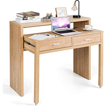 Amazon Com Tangkula Extendable Computer Desk Small Writing Desk With Pull Out Secondary Desk Console Table With 2 Drawers Wood Study Workstation Laptop Desk For Small Space Home Office Natural Kitchen