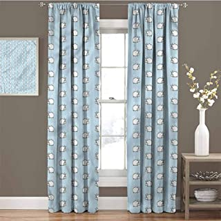 GUUVOR Baby Shading Insulated Curtain Counting Sheep Pattern Soundproof Shade W84 x L84 Inch