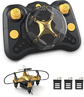Holyton HT02 Golden Mini Drone for Adult Beginners and Kids, Portable RC Quadcopter with Auto...