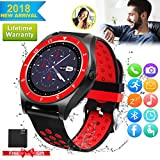 Bluetooth Smart Watch Touchscreen with Camera,Unlocked Watch Cell Phone with Sim Card Slot,Smart Wrist Watch,Waterproof Smartwatch Phone for Android Samsung (Red+Black)