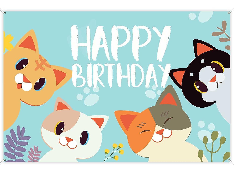 Happy Birthday Banner Backdrop Sky San Francisco Mall Ranking TOP13 Blue Cute Cat Dec Party Theme