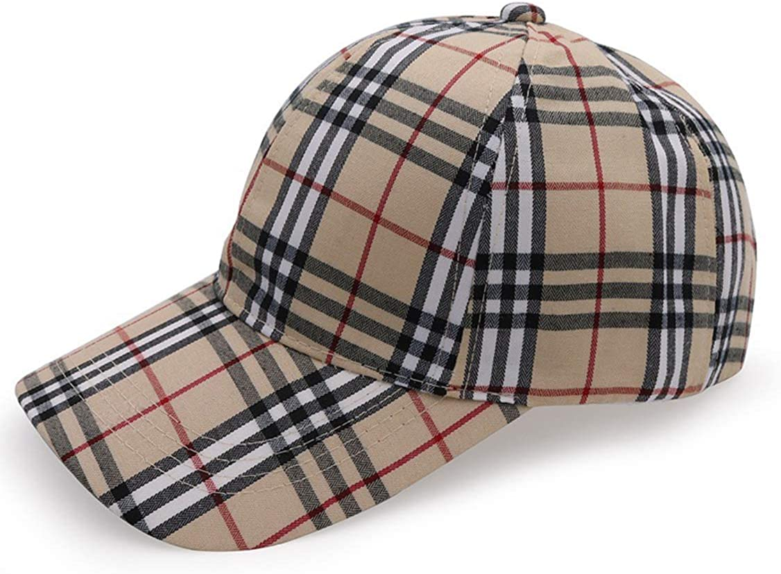 Ruinuo Unisex Fashion Baseball Caps Adjustable Plaid Cotton Retro Sun Hat
