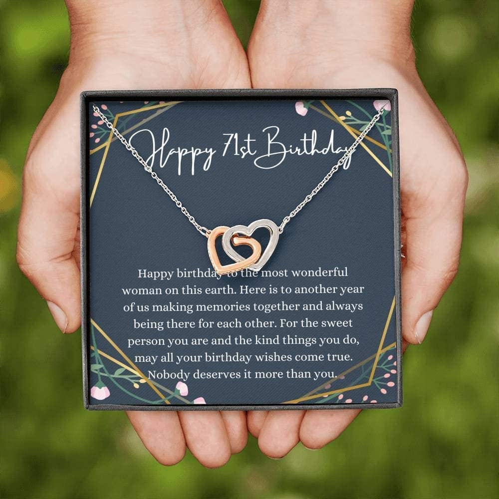 Cheap mail order specialty store Interlocking Hearts Happy 71st Birthday Genuine C With Necklace Message