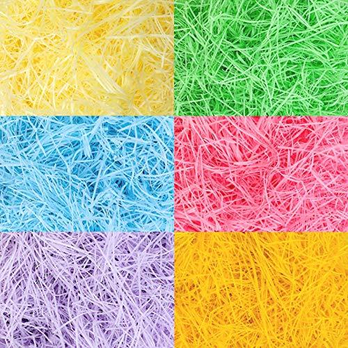 Qpout 360 Gramm Osterkorb geschreddertes Gewebe, gelb rosa grün blau Osterkorb Füllung Gras Papier Raffia, Ostern Party Korb Eier Geschenk Dekoration Füllung