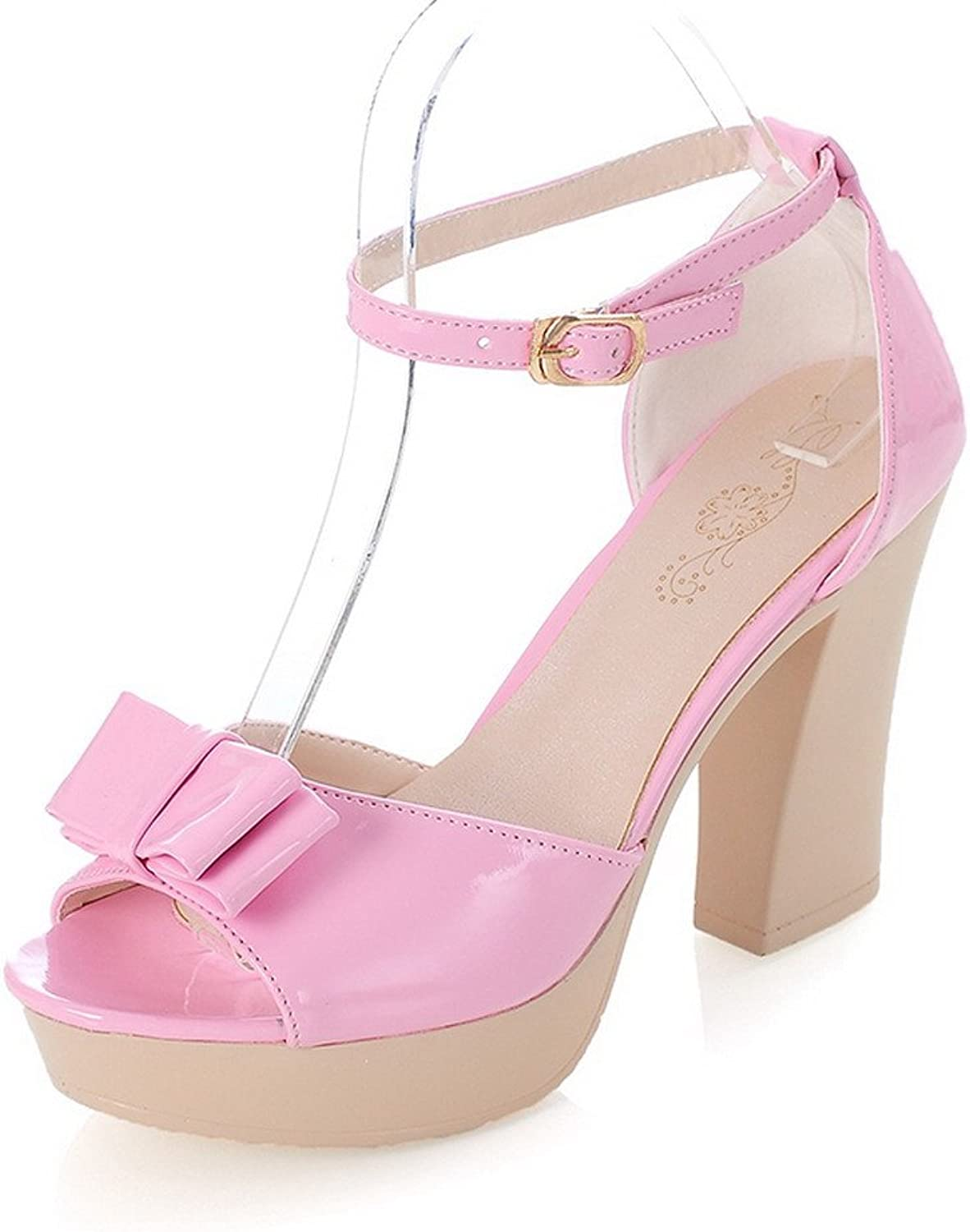 AmoonyFashion Womens Open Peep Toes High Heel Chunky Patent Leather PU Solid Sandals with Bowknot, Pink, 7.5 B(M) US