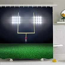 Ahawoso Shower Curtain for Bathroom 60x72 Green Empty Football Tee Field Spotlight Night Sport Parks Sports Recreation Goal Post Goalpost Turf Waterproof Polyester Fabric Bath Decor Set with Hooks