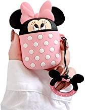 BONTOUJOUR AirPods Case, Super Cute Creative Cup-Hiding Cartoon Yellow Bear Big Eyes Mouse Shape Case Cover, Fun Soft TPU Silicone Protective Skin for AirPods 1/2+ Finger Lanyard-Minnie