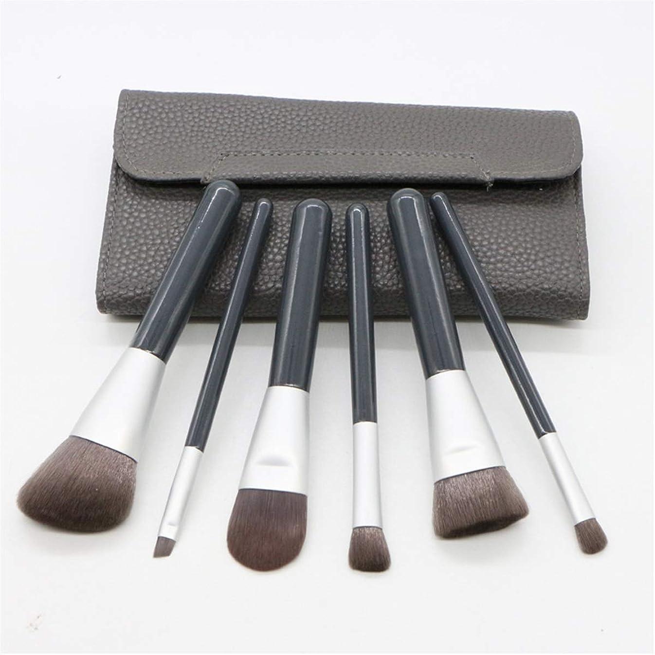 フィクション安全ばかげた化粧用品 6ピース竹炭繊維化粧ブラシpuバッグセットフルセットの化粧道具多機能美容ツールセット