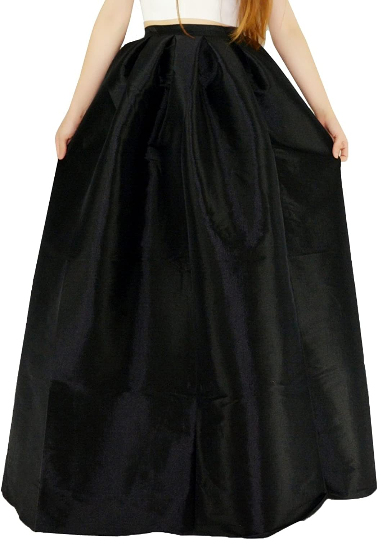 YSJ Women's ALine Pleated Maxi Skirts Party Swing Skirt w  Pockets (8, Black)