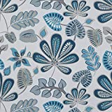 "Melwod Blue Tropical Flower Peel and Stick Contact Paper 17.71"" x 78.7"" Tropics Floral Leaves..."