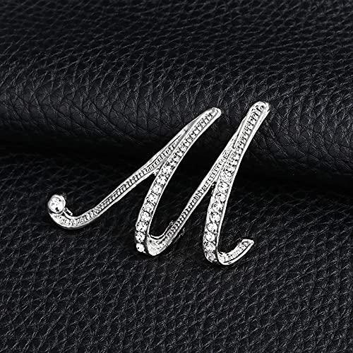 KLHHG Carta de la Moda Broche Lindo para Las Mujeres Hombres Rhinestones Color de Plata Pines Metal Pins Camisa Accesorios de joyería (Color : M)