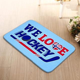 zexuandiy Washable Floor Entrance Outdoor Indoor Rug Doormat Non-Woven Fabric 23.6 x 15.7 Norge ice Hockey Norway Winter Sports Love Poster HEA