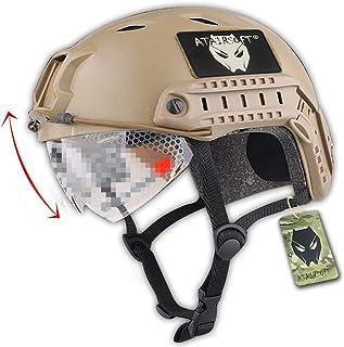 ATAIRSOFT Fast BJタイプ タクティカル アウトドア エアソフトヘルメット 米軍風 多機能サバゲーヘルメット ゴーグル付き NVGマウントレール付き ABS製 戦術ヘルメット (カーキ)