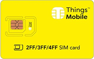 2FF /3FF / 4FF SIM Card - Things Mobile - with Global Coverage and Multi-Operator GSM/2G/3G/4G LTE Network, No Fixed Costs, No Expiration Date and Competitive Rates, with $10 Credit Included