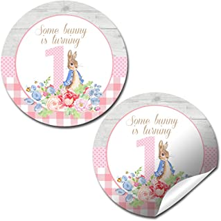 Little Rabbit First Birthday Thank You Sticker Labels for Girls, 40 2