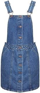 Womens Ladies Mid Blue Black Denim Button Up Pinafore Dungaree Dress Skirt
