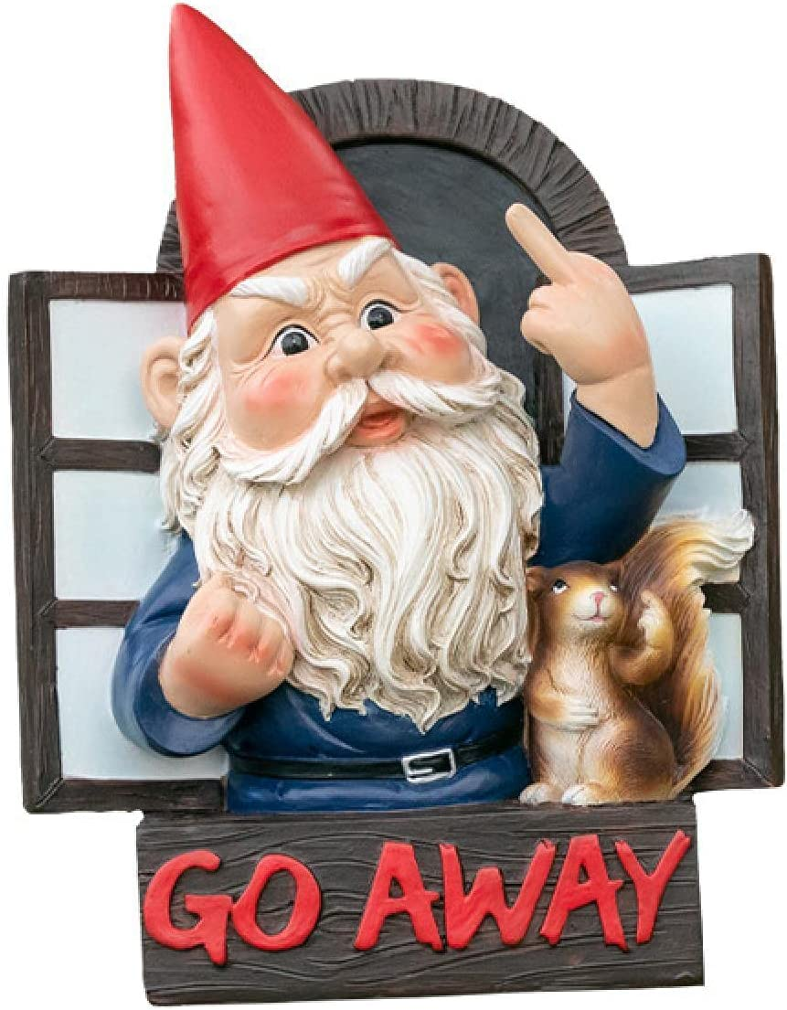 mandylab Grumpy Gnome Garden Gnomes Statue Go Away Wall Plaque Funny Naughty Ornament Decoration (Go Away Gnome)