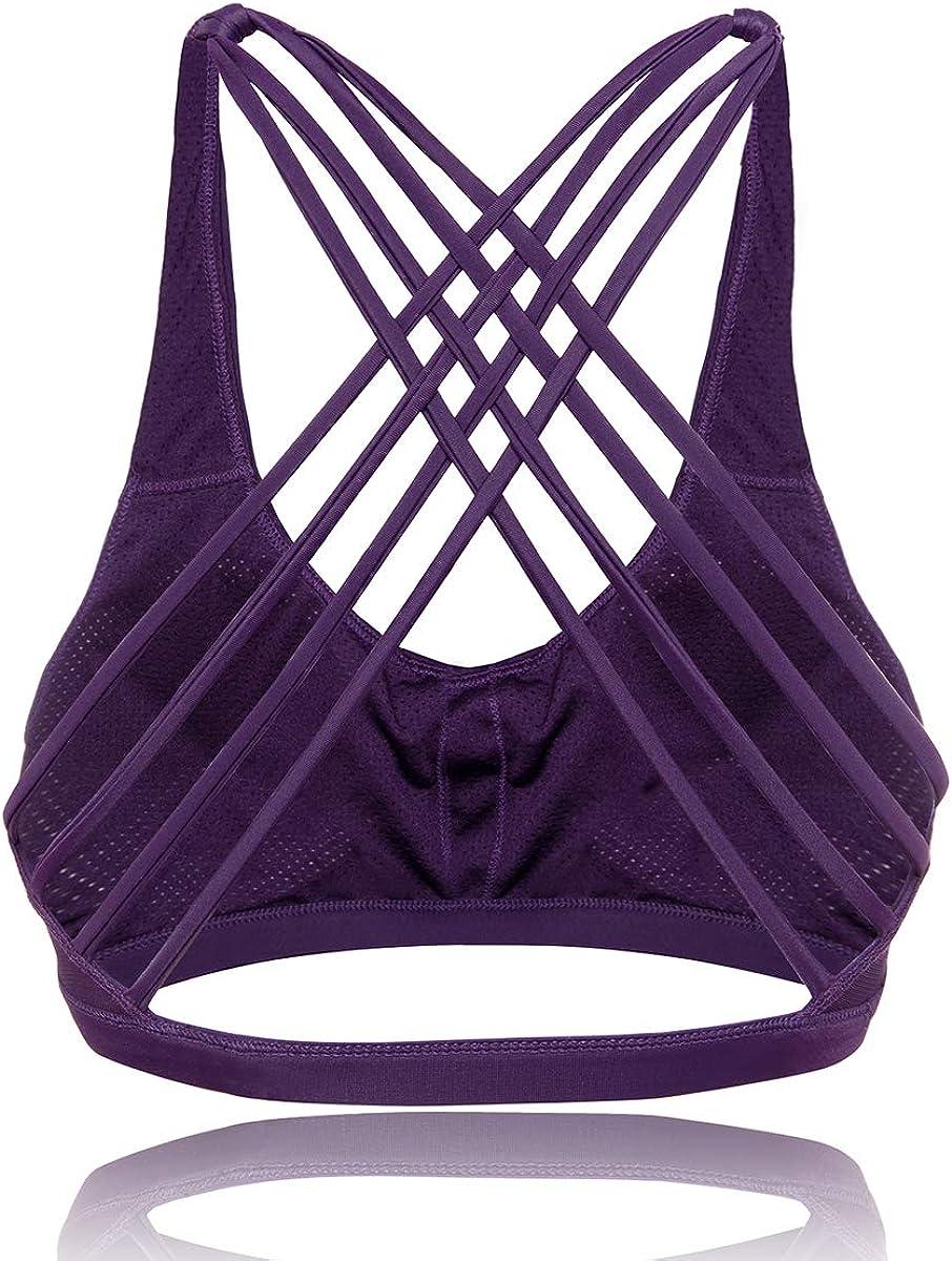 Hioffer Womens Sports Bra Cross Back Bra Workout Strappy Bra Seamless Comfortable Yoga Bra