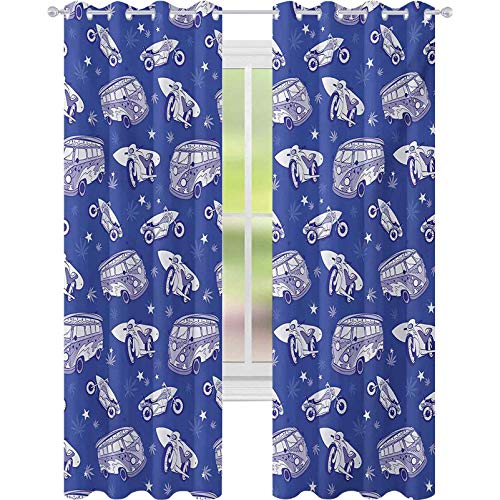 cortinas de dormitorio, Tablas de surf En Hippie Bus Motocicleta Hawaii California Diseño Gráfico, W52 x L63 Bloquear Cortinas para Sala, Violeta Azul Lila Blanco