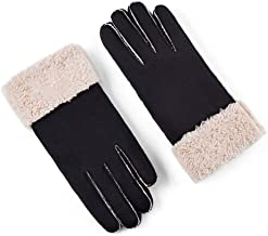 Axdwfd-Children's gloves Winter Female Suede Plus Velvet Thick Korean Cute Warm Student Riding Couple Skiing Male Plus Velvet Thickening Couple Models (Color : Black, ??gender : Female)