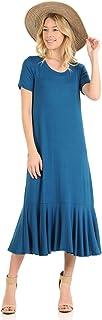 iconic luxe Women's A-Line Ruffle Hemline Midi Dress