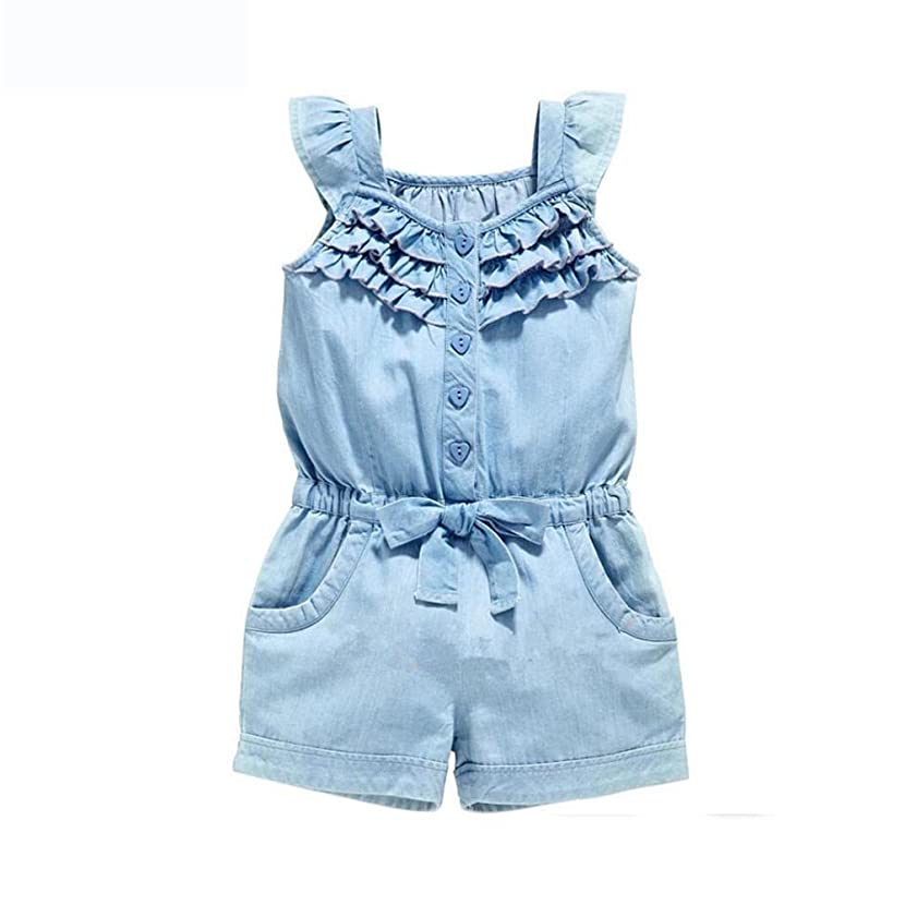 Dsood Toddler Jumpsuit 2019 Baby Girls Denim Blue Cotton Washed Jeans Sleeveless Bow Romper Jumpsuit Clothes